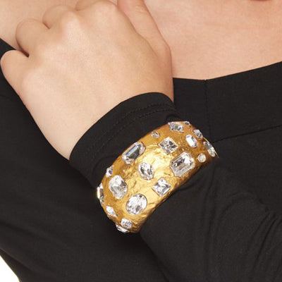 Satin Gold Hammered Crystal Stones Cuff