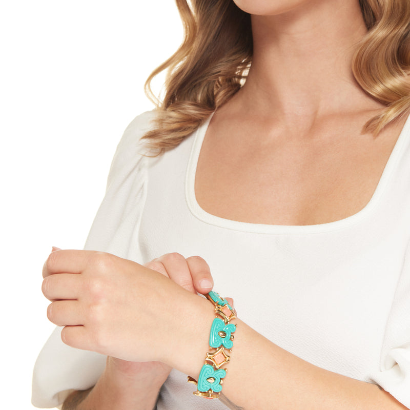 Gold with Turquoise and Pink Bracelet