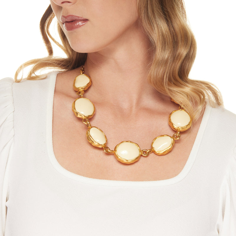 "24"" Adjustable Gold with Round Ivory Center Necklace"