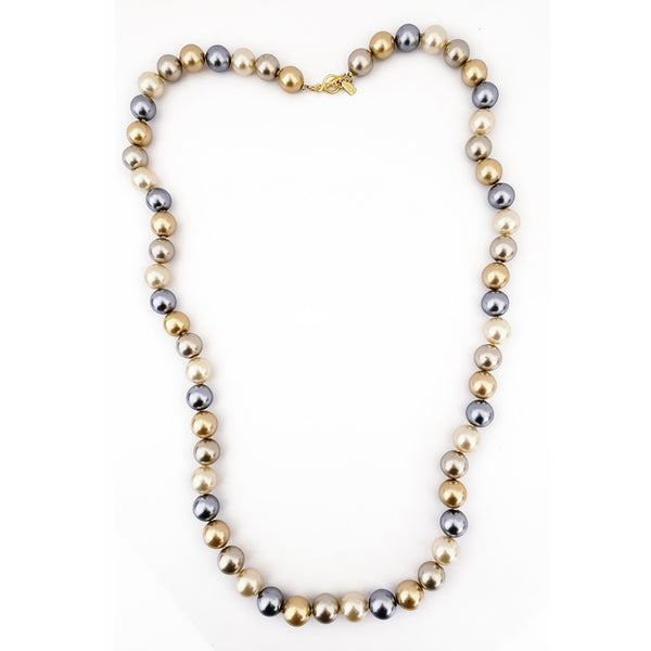 "34"" 14mm Multi Natural Pearls with Gold Toggle Clasp Necklace"