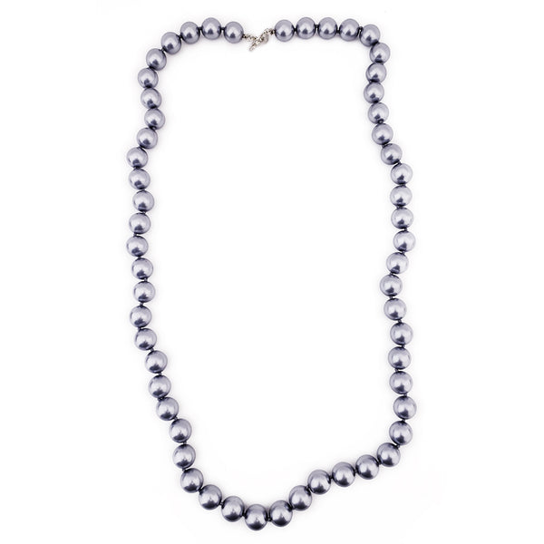 "34"" 14mm Dark Grey Pearl with Silver Toggle Clasp Necklace"
