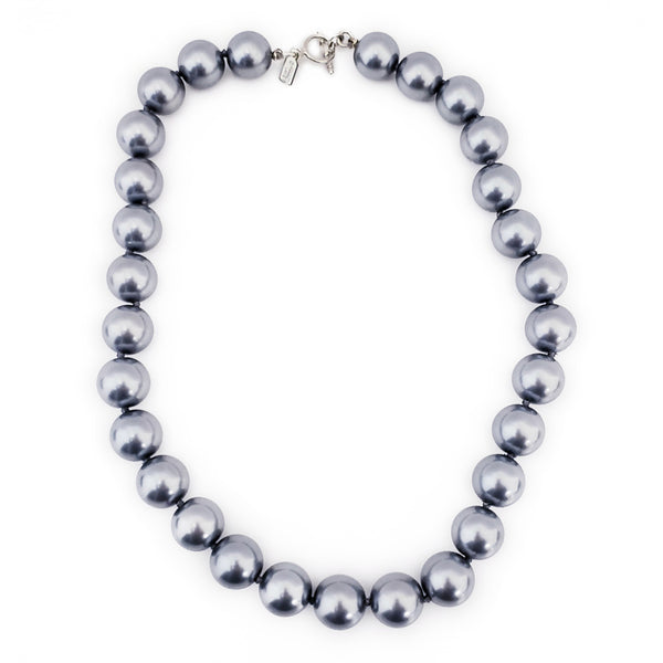 "18"" 14mm Dark Grey Pearl with Silver Toggle Clasp Necklace"
