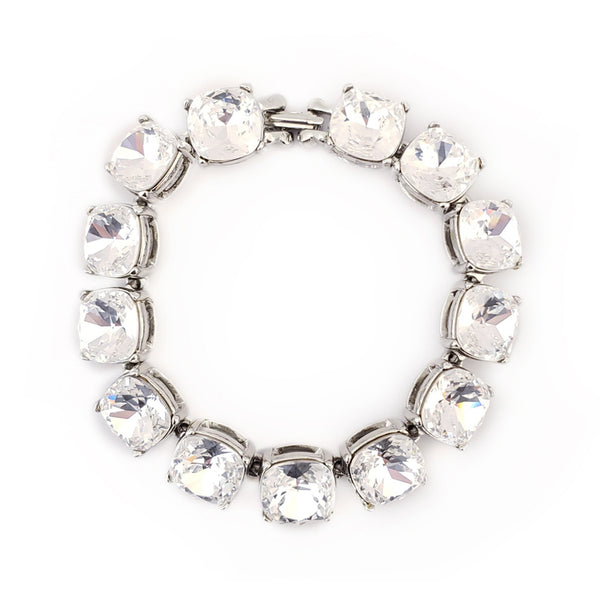 "7.5"" Silver and Crystal 12mm Stones Link Foldover Clasp Bracelet"
