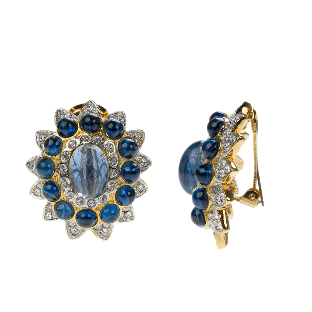Barbara Bush Gold & Sapphire Cabochon Center Clip Earrings