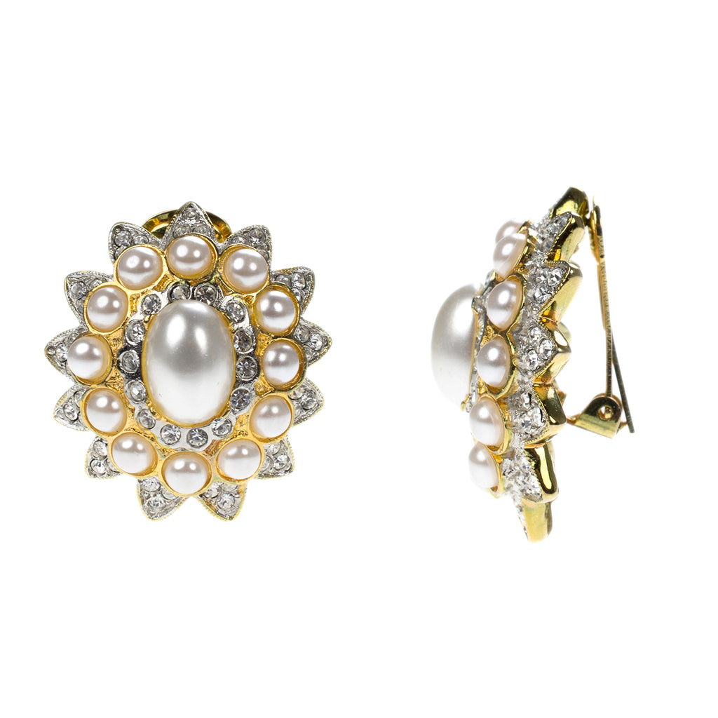Pearl Cabochon Clip Earrings