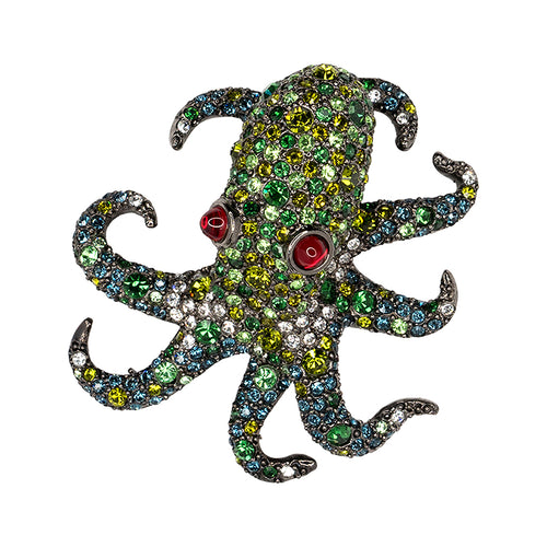 Multi Green Pavé Octopus Brooch