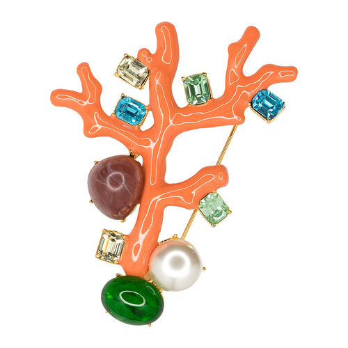 Coral Branch Brooch