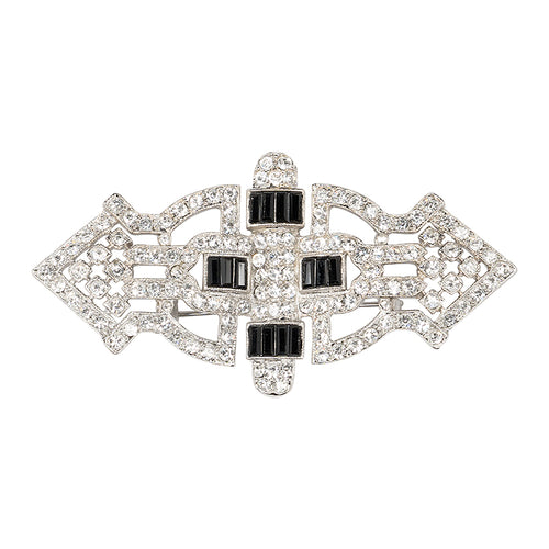 Jet Art Deco Brooch