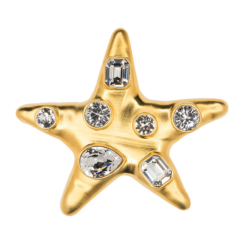 Satin Gold Crystal Star Brooch