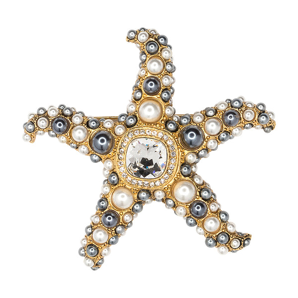 Two Toned Pearl Starfish Brooch