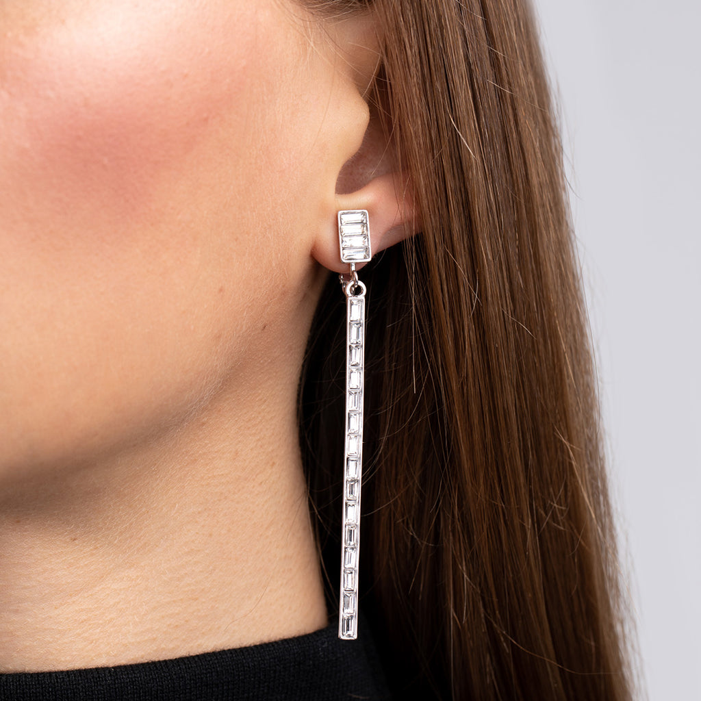 Crystal Stick Pierced Earrings