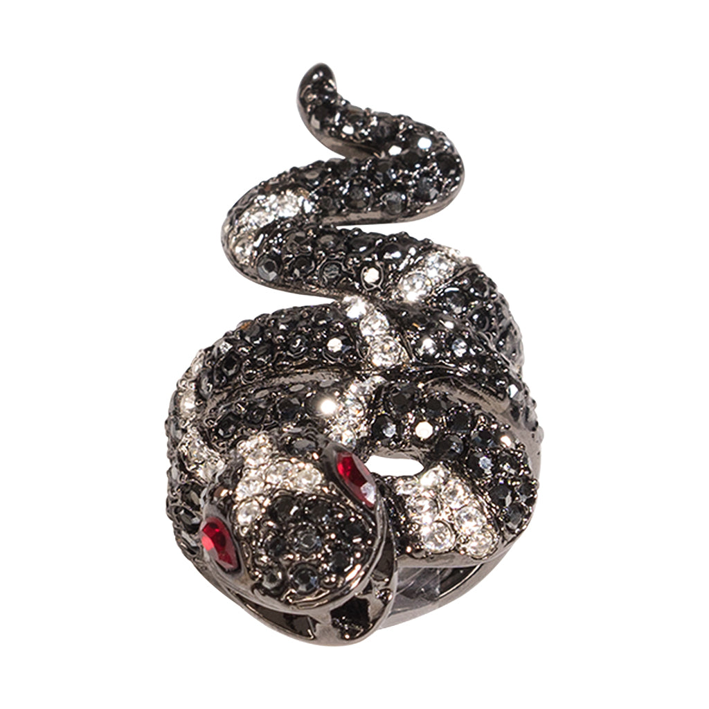 Hematite And Crystal Snake Ring