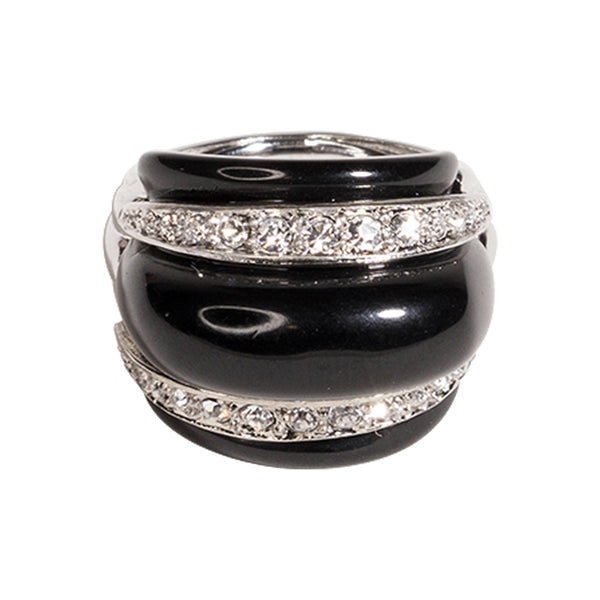 Black & Crystal Dome Ring