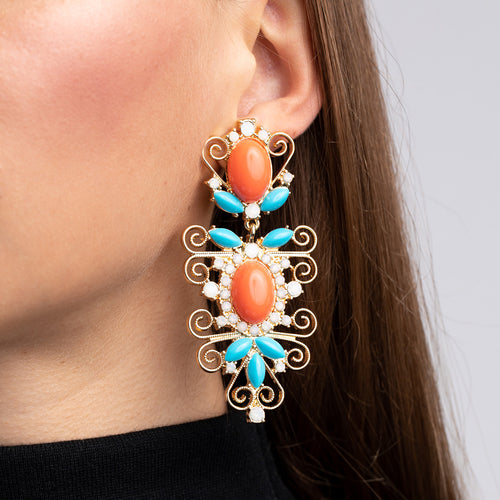 Gold with Coral and Turquoise Cabochon Drop Clip Earrings