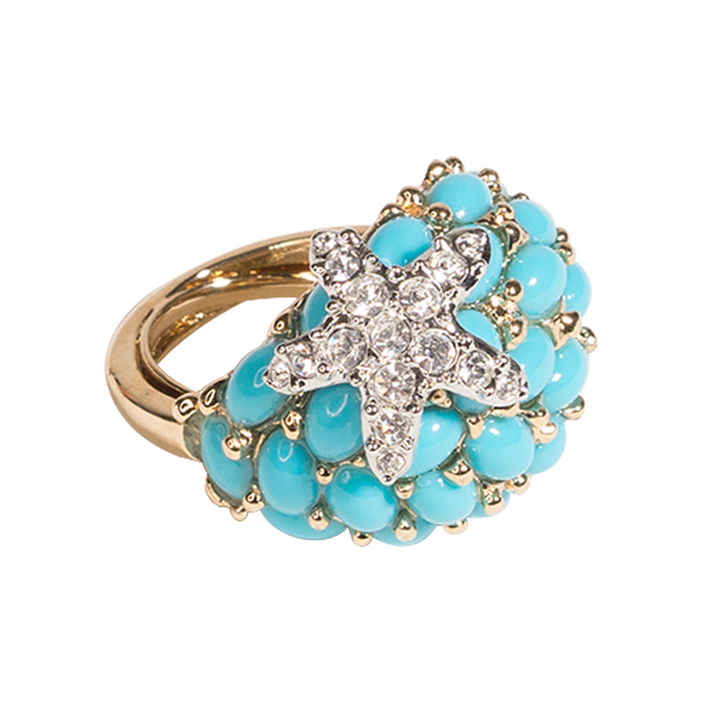 Turquoise And Crystal Starfish Ring