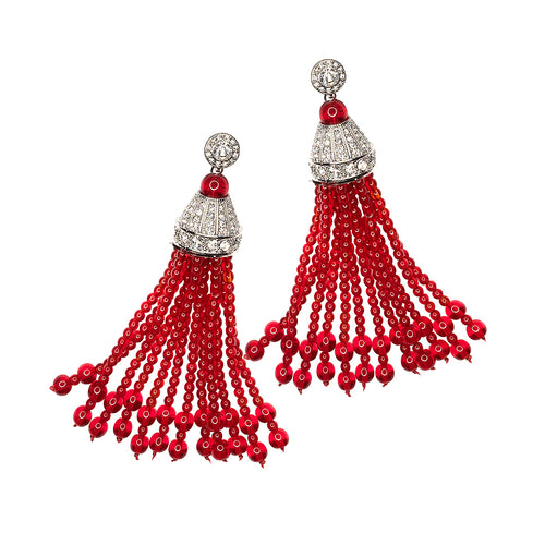Crystal And Ruby Tassel Pierced or Clip Earrings