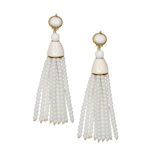White Tassel Pierced or Clip Earrings