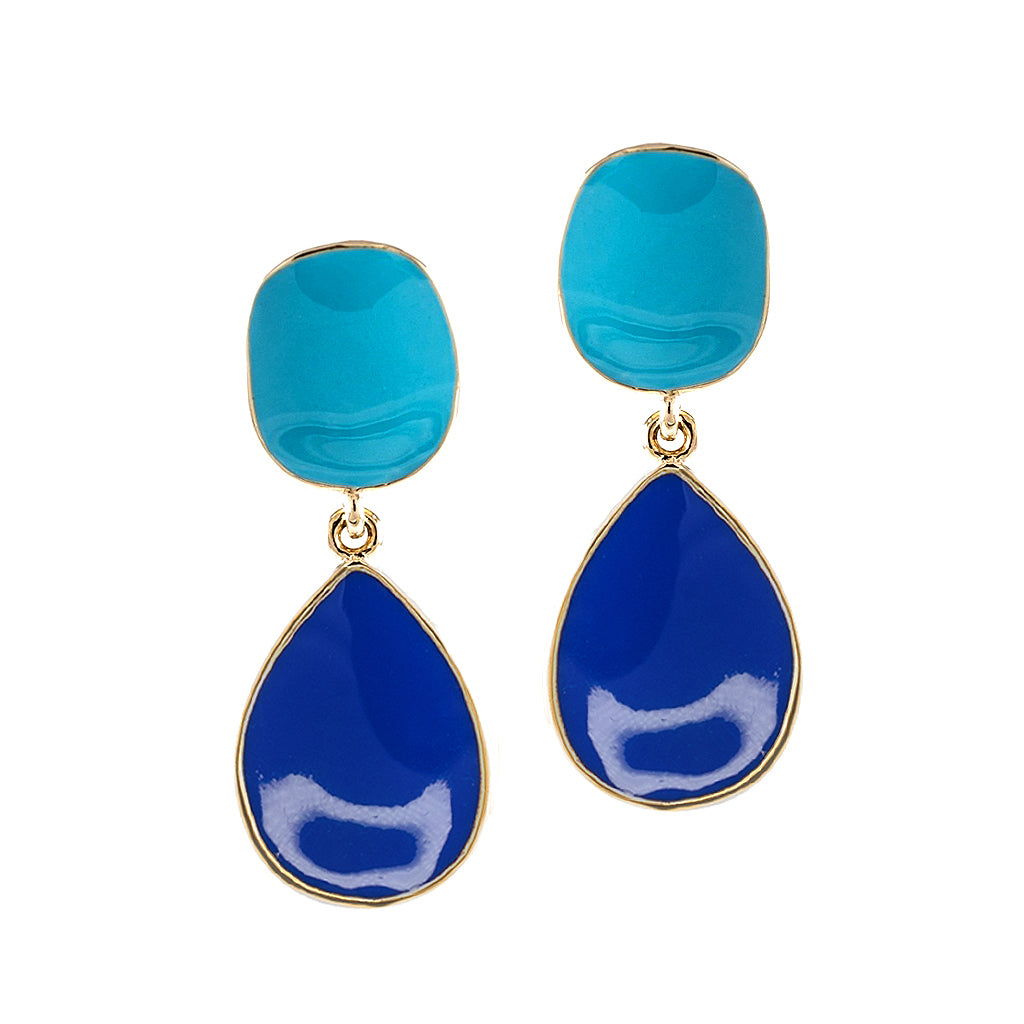 Kenneth Jay Lane Lapis And Turquoise Drop Clip Earring Lapis/turquoise