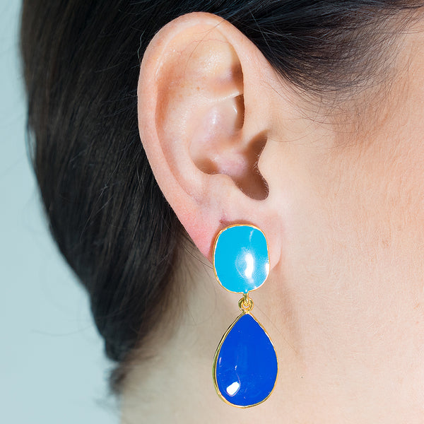 Turquoise And Lapis Enamel Drop Pierced or Clip Earrings