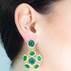 Emerald Cabochon Pierced or Clip Earrings