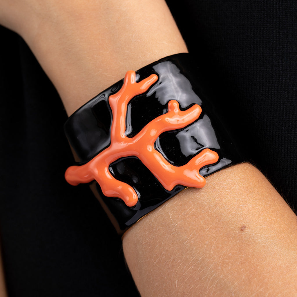 Black Enamel and Coral Branch Cuff Bracelet