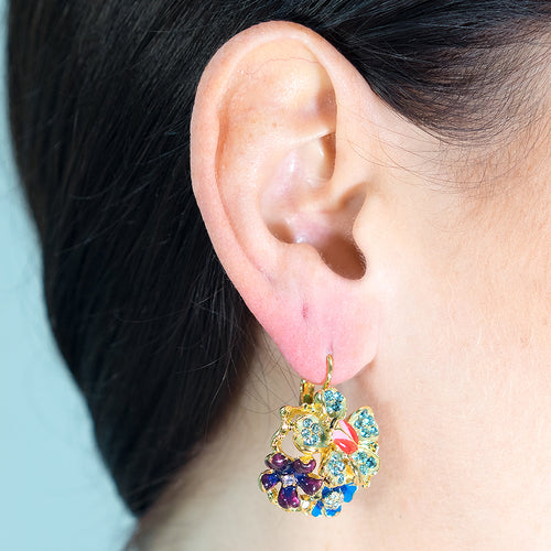 Cool Multi Pastel Flower Eurowire Pierced Earrings
