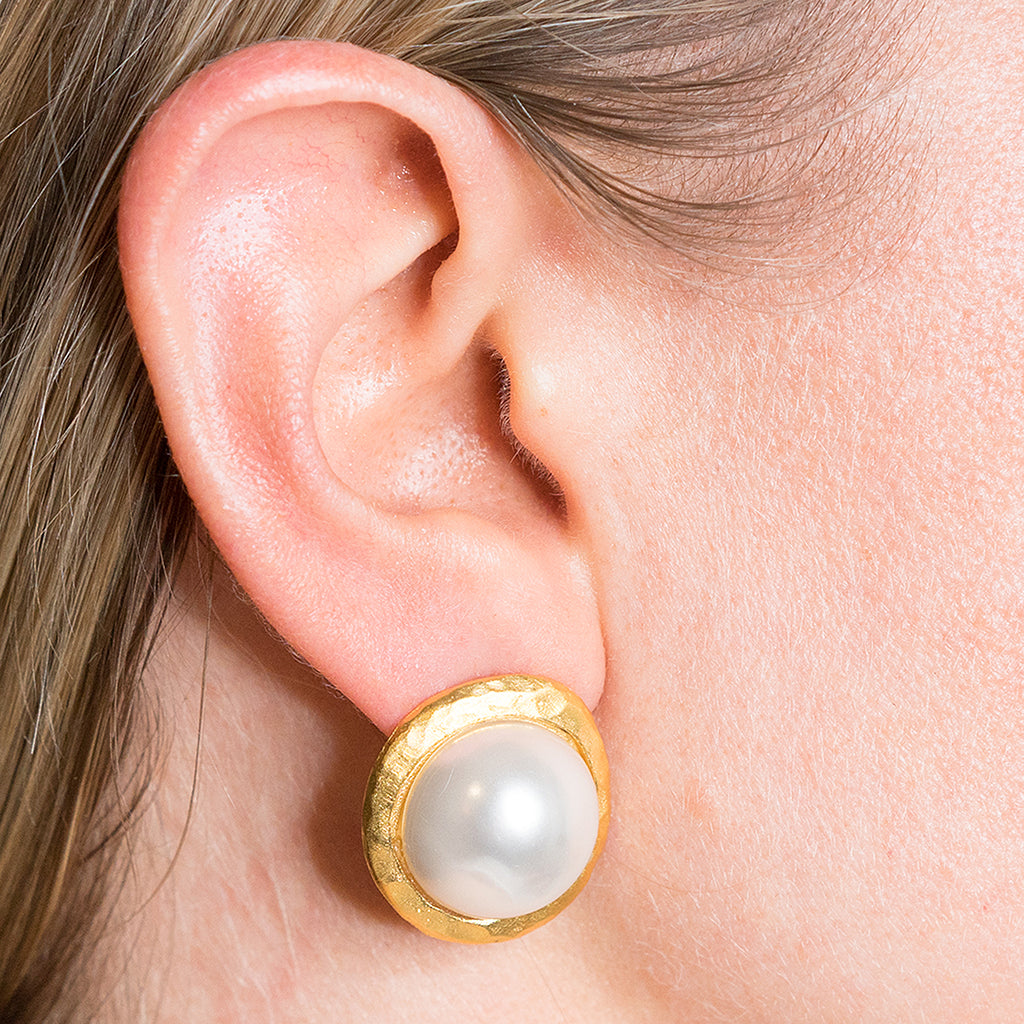 Pearl Button Pierced or Clip Earrings
