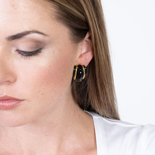 Gold Double Ribbed Black Domed Hoop Clip Earrings
