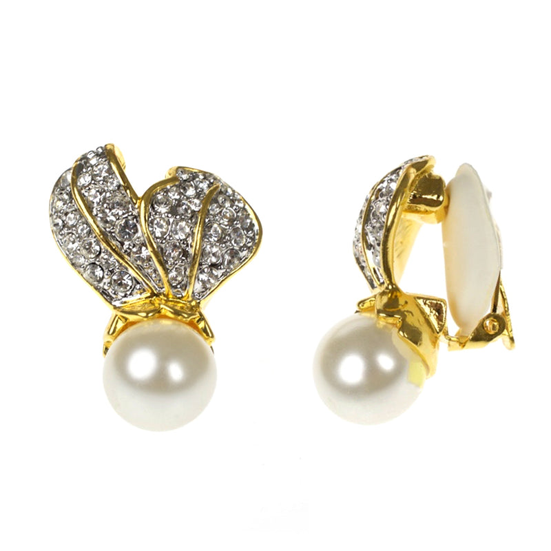 Crystal Leaf Top With Pearl Bottom Clip Earrings