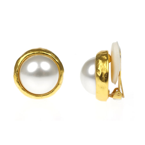 Hammered Gold & Pearl Clip Earrings