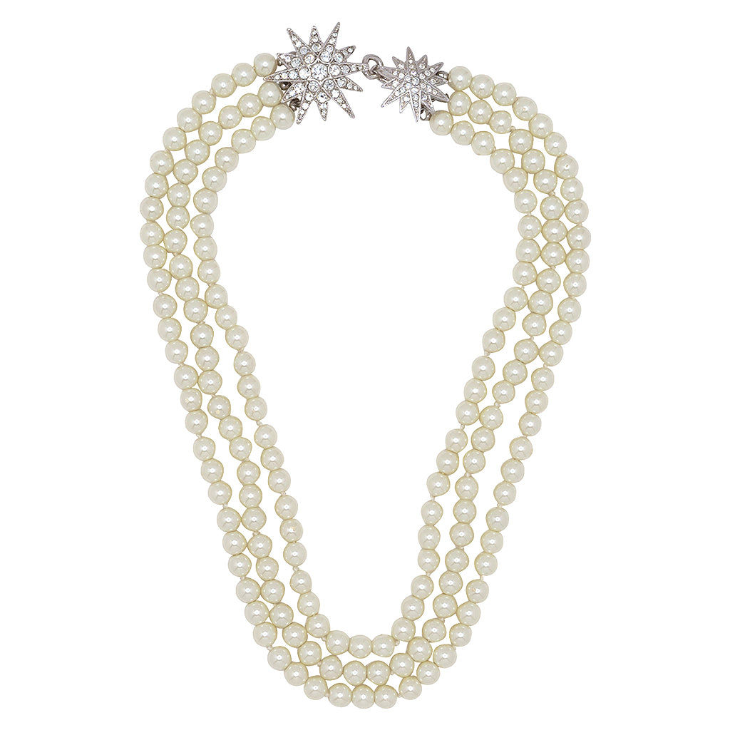 Kenneth Jay Lane Three Row Pearl Necklace With Starburst Clasp zfRMXPeloa
