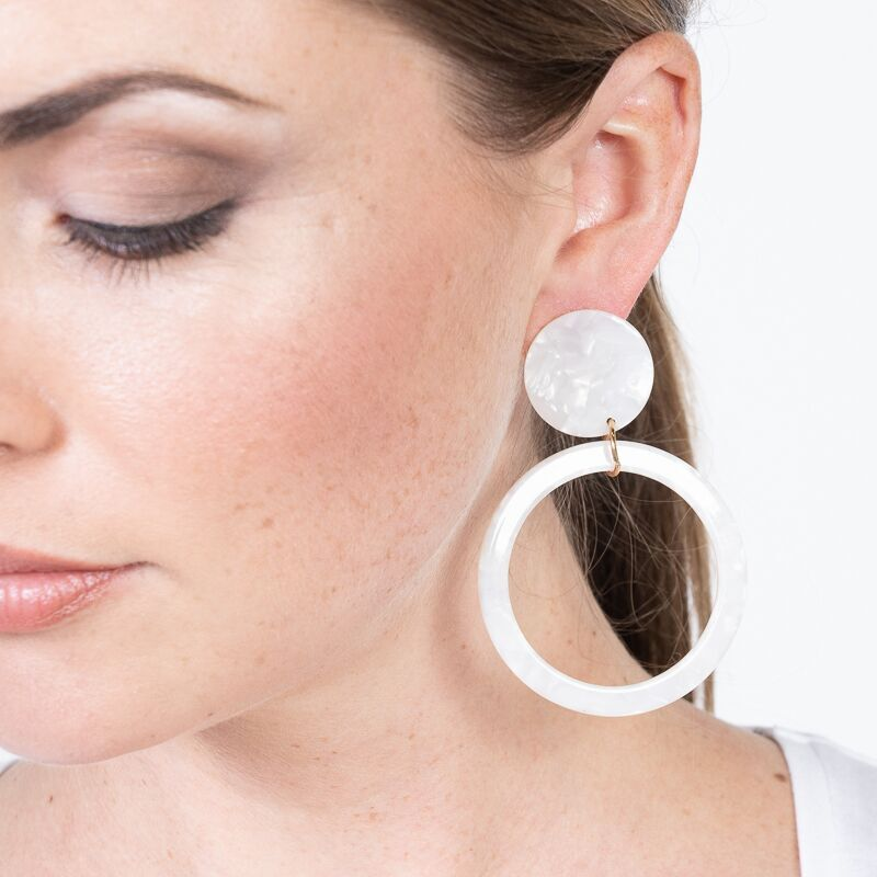 Ivory Open Circle Drop Pierced Earrings