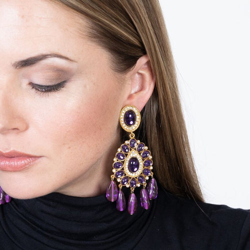 Gold & Amethyst Cabochon Drop Clip Earrings