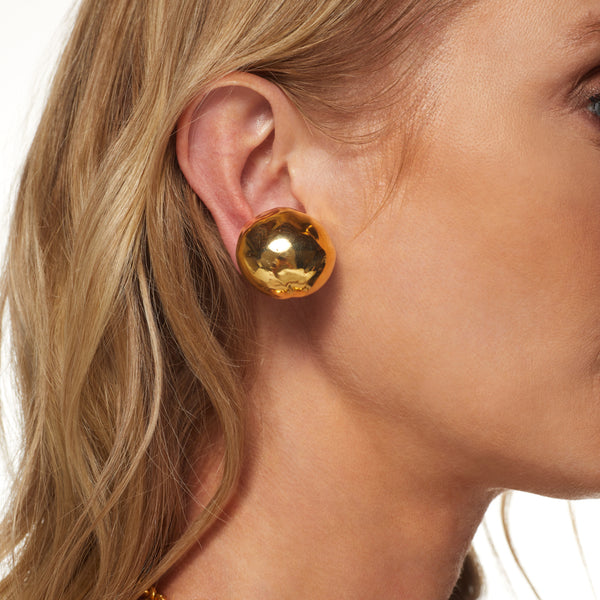 Textured Button Clip Earring