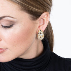 Gold, Crystal & Jet Pave Thumbnail Clip Earrings