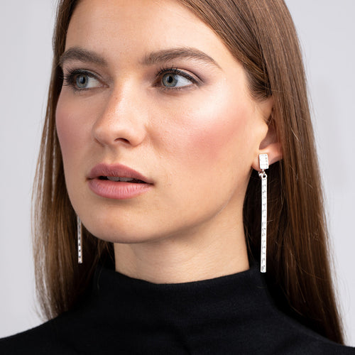 Crystal Stick Clip Earrings