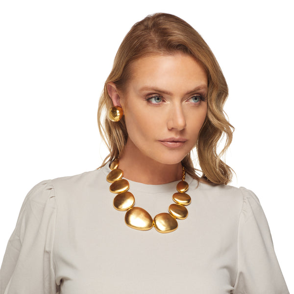 Satin Gold Flat Odd Shape Disc Necklace