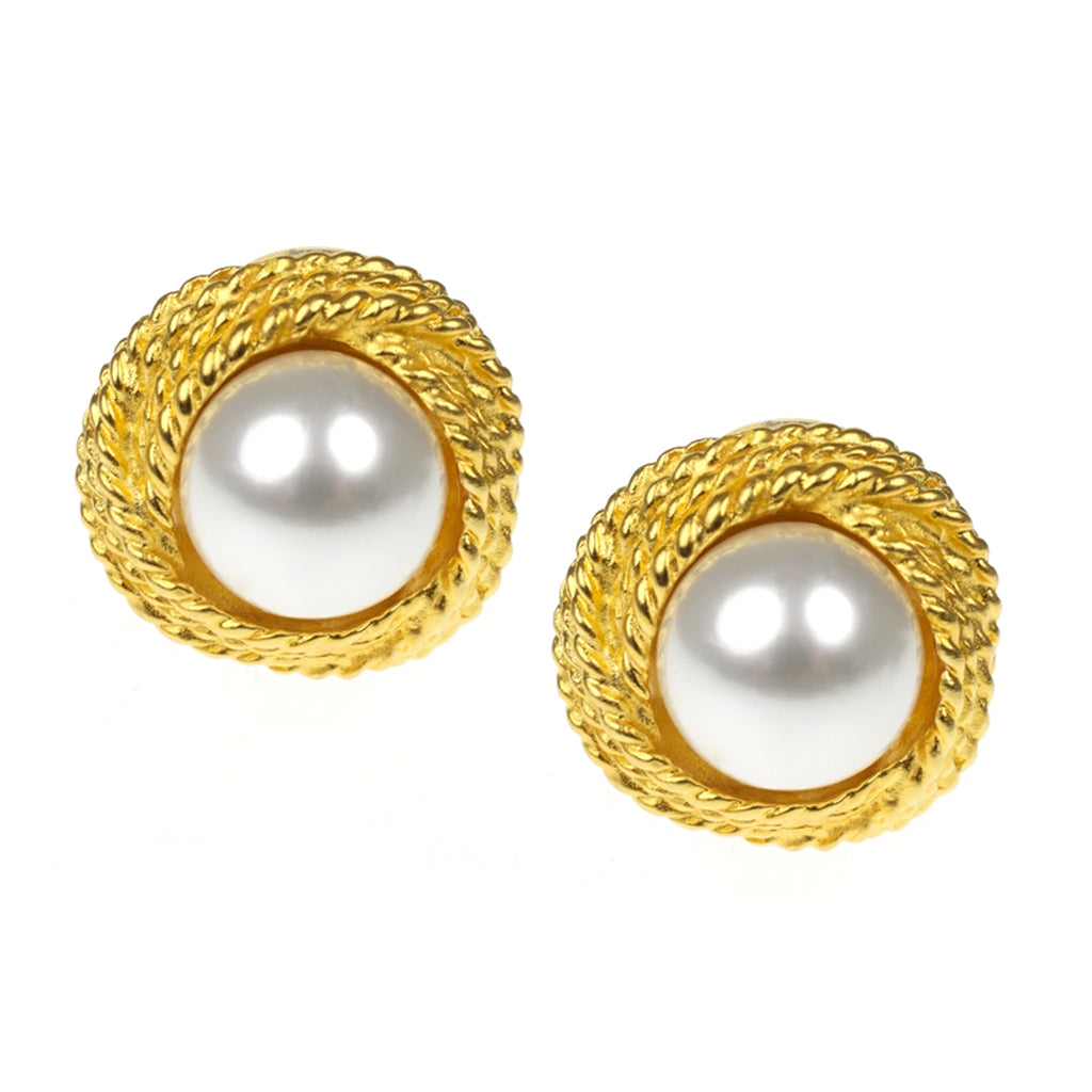 Satin Gold & Pearl Loveknot Clip Earrings