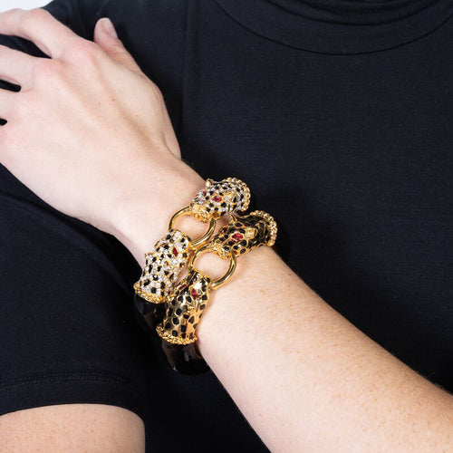 Crystal with Jet Spots Double Leopard Head Bracelet
