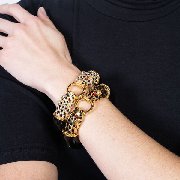 Gold with Black Spots Double Leopard Head Bracelet