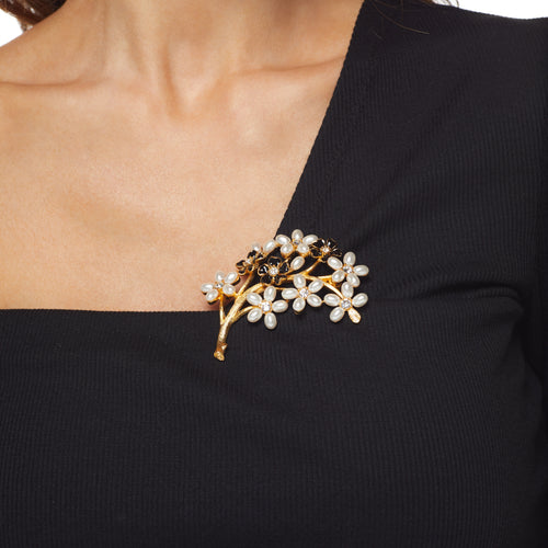 Crystal Flowers Branch Pin