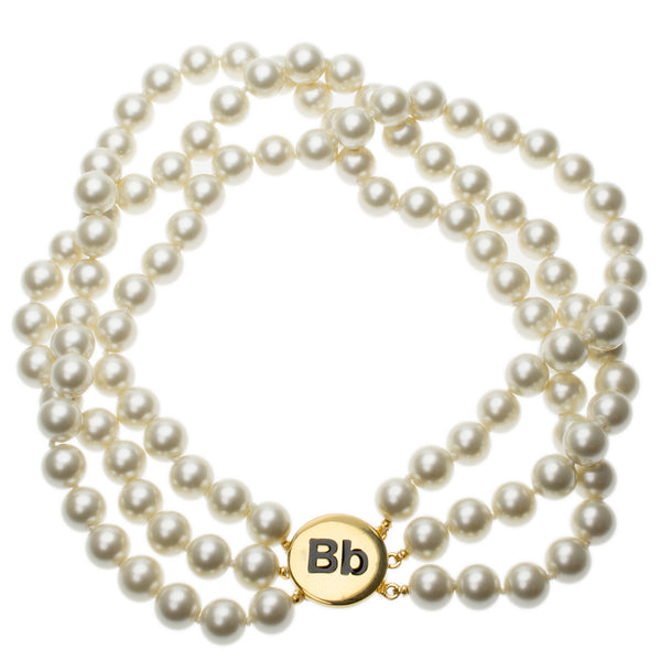 "Barbara Bush 3 Row Cultura Pearl ""Bb"" Clasp Necklace"