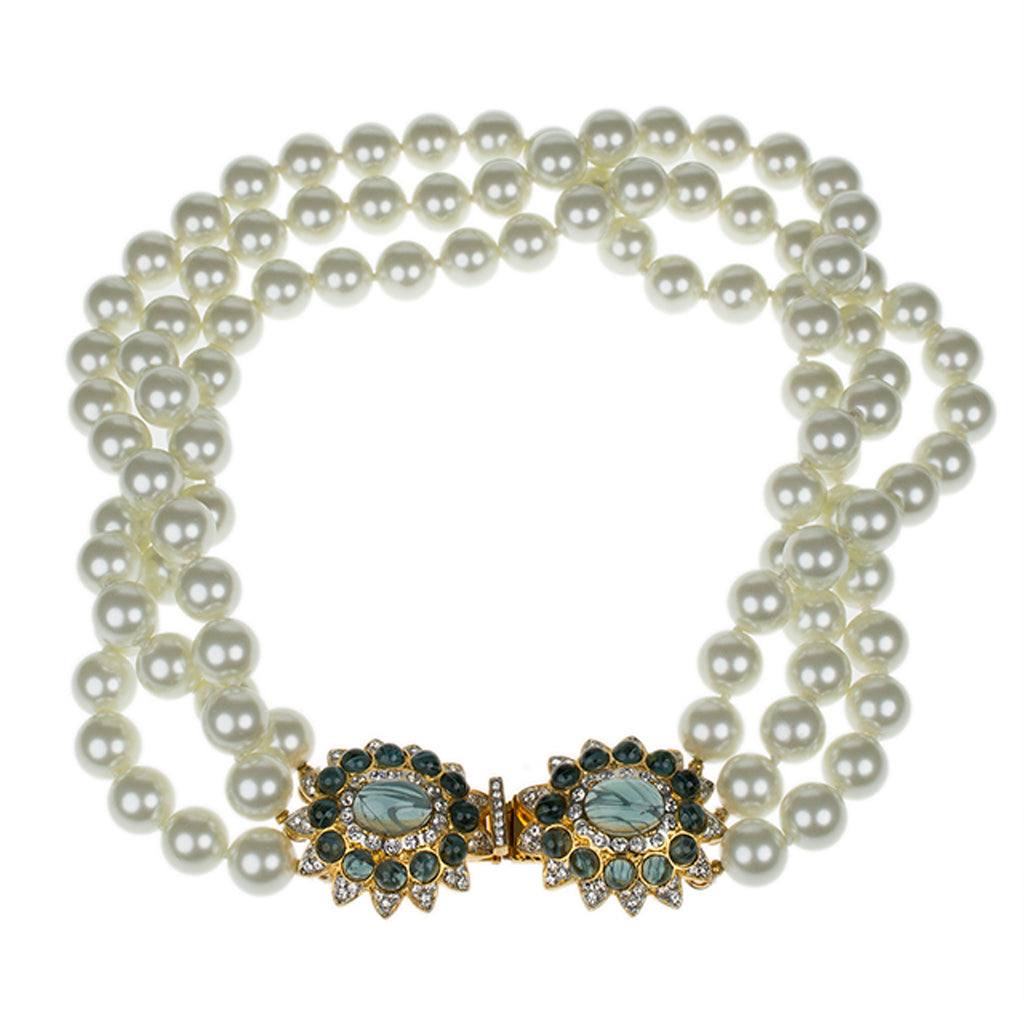 Kenneth Jay Lane 3 Row Pearl Necklace With Silver Clasp Pearl RLh6fzsj