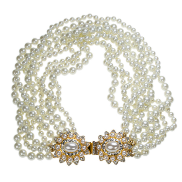 White Pearl Necklace with Flower Clasp