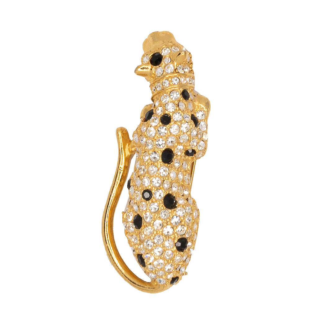 Gold with Crystal and Jet Spots Leopard Pin