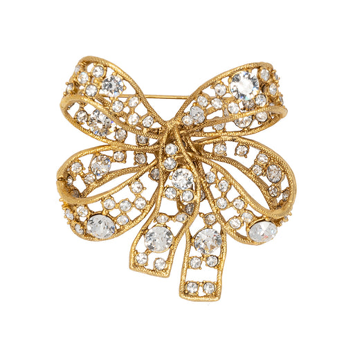 Antique Gold & Crystal Bow Pin