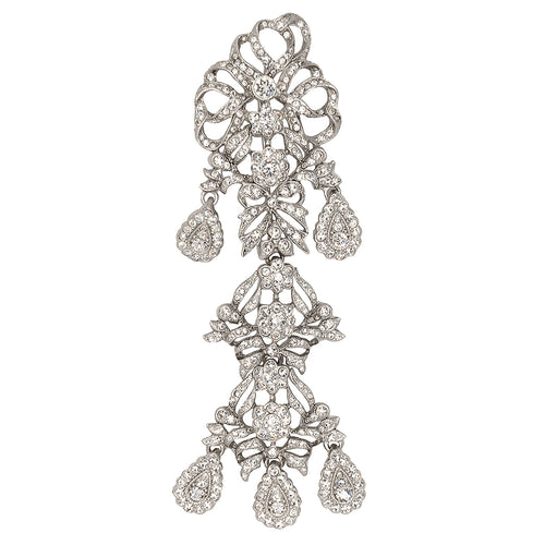Antique Silver & Crystal Drop Pin