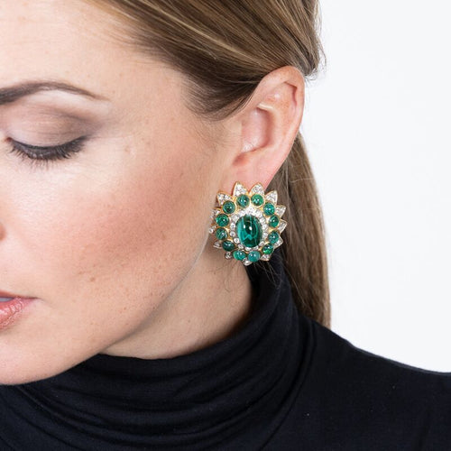 Flawed Emerald Center Clip Earrings