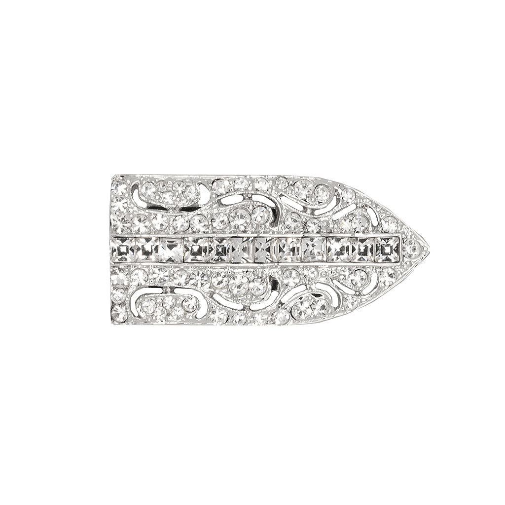 Silver and Crystal Deco Pin Clip