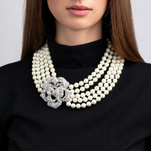 5 Row Cultured Pearl and Rhinestone Flower Clasp Necklace
